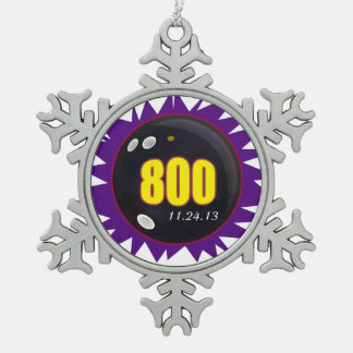 800 Bowling Series Snowflake Pewter Christmas Ornament