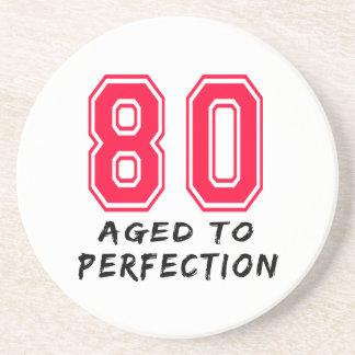 80 Aged To Perfection Birthday Design Beverage Coaster
