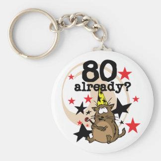 80 Already Birthday Basic Round Button Key Ring
