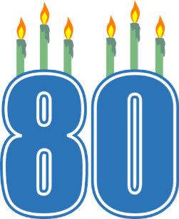 80 Birthday Candles Blue Green Key Ring