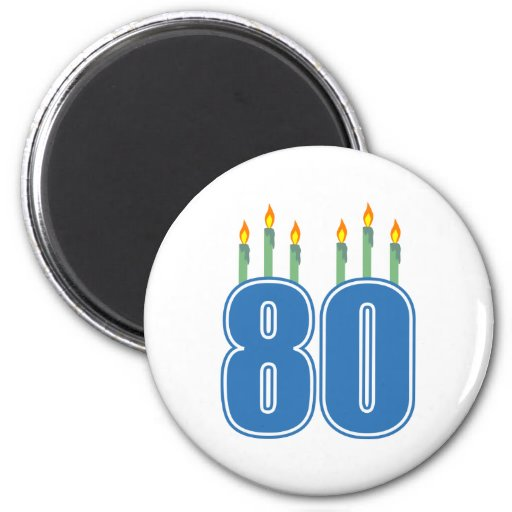 80 Birthday Candles (Blue / Green) 6 Cm Round Magnet