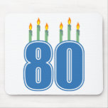 80 Birthday Candles (Blue / Green) Mousepads