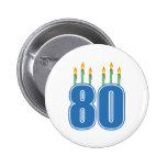 80 Birthday Candles (Blue / Green) Pinback Button