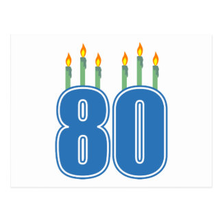 80 Birthday Candles Blue Green Post Cards