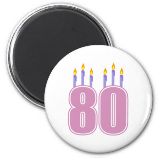 80 Birthday Candles (Pink / Purple) 6 Cm Round Magnet