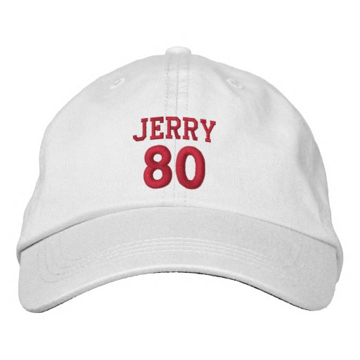 80 Birthday Custom Name Red Embroidery V17 Embroidered Hat