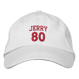 80 Birthday Custom Name Red Embroidery V17 Embroidered Hats