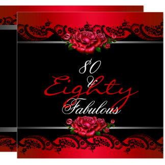 80 & Fabulous 80th Birthday Party Red Roses Card