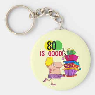 80 is Good Birthday Tshirts and Gifts Basic Round Button Key Ring