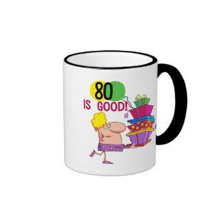 80 is Good Birthday Tshirts and Gifts Ringer Coffee Mug