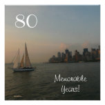 80 Memorable Years/Birthday Celebration-Male Custom Invitations
