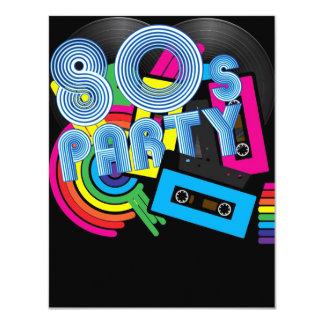 80 Retro Party 11 Cm X 14 Cm Invitation Card