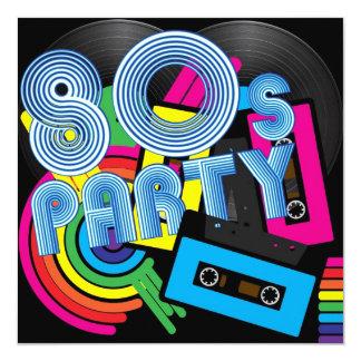 80 Retro Party 13 Cm X 13 Cm Square Invitation Card
