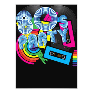 80 Retro Party 14 Cm X 19 Cm Invitation Card