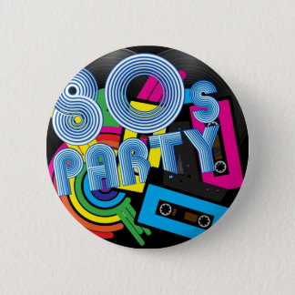 80 Retro Party 6 Cm Round Badge