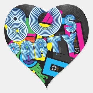80 Retro Party Heart Sticker