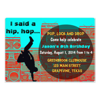 80 s Boombox Break ancing Hip Hop Party Invitation