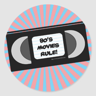 80 s Movies Rule Round Sticker