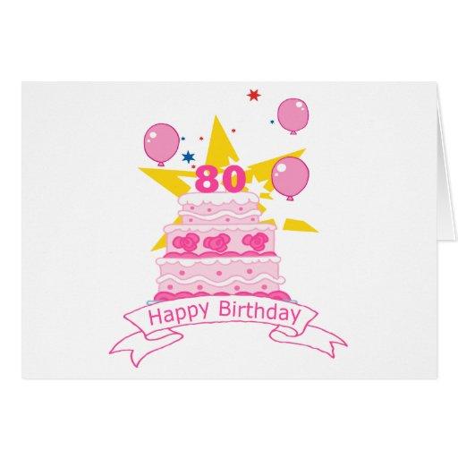 80 Year Old Birthday Cake Greeting Cards