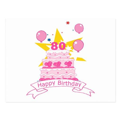 80 Year Old Birthday Cake Post Card