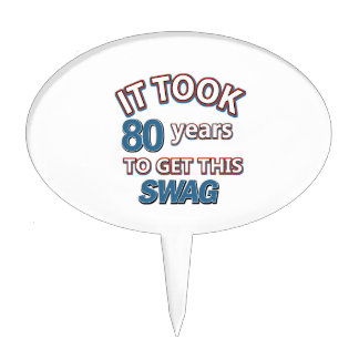 80 year old designs cake topper