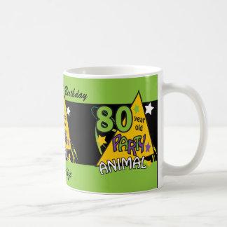 80 Year Old Party Animal Birthday Theme Basic White Mug