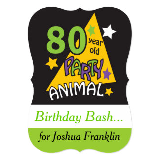 80 Year Old Party Animal Birthday Theme 5x7 Paper Invitation Card