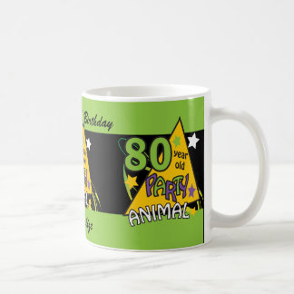 80 Year Old Party Animal Birthday Theme Classic White Coffee Mug