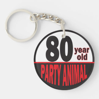 80 Year Old Party Animal Double-Sided Round Acrylic Key Ring