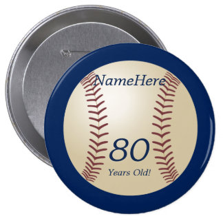 80 Years Old, Baseball on Blue Button Pin