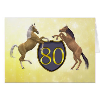80 years old birthday card with rearing horses