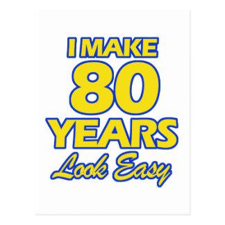 80 YEARS OLD BIRTHDAY DESIGNS POSTCARD