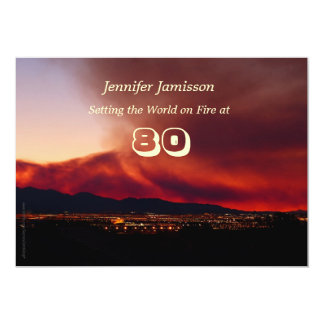 """80 Years Old Birthday Party Invites World on Fire 5"""" X 7"""" Invitation Card"""