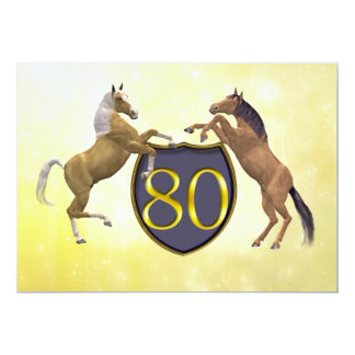80 years old birthday party rearing horses 13 cm x 18 cm invitation card