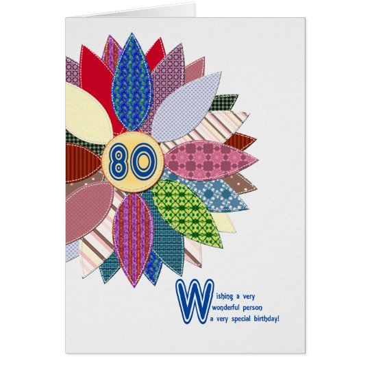 80 years old, stitched flower birthday card