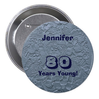 80 Years Young Blue Dolls Pin Birthday Gift