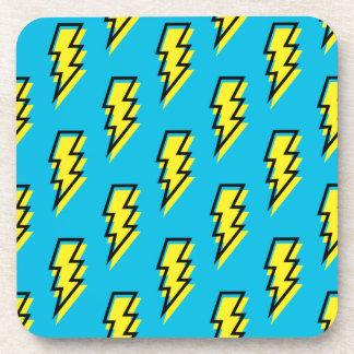 80's/90's Neon Blue Yellow Lightning Bolt Pattern Coaster