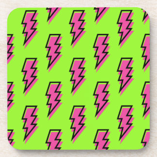 80's/90's Neon Green & Pink Lightning Bolt Pattern Coaster
