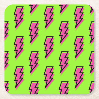 80's/90's Neon Green & Pink Lightning Bolt Pattern Square Paper Coaster