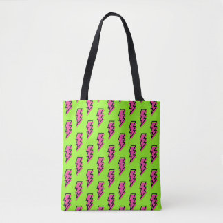 80's/90's Neon Green & Pink Lightning Bolt Pattern Tote Bag