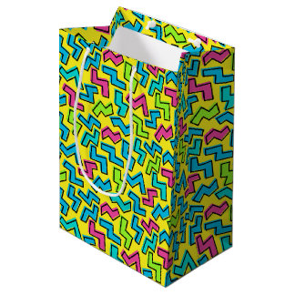 80's/90's Retro Neon Pattern Medium Gift Bag