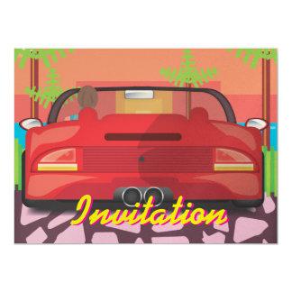 80s Arcade Sports Car 17 Cm X 22 Cm Invitation Card
