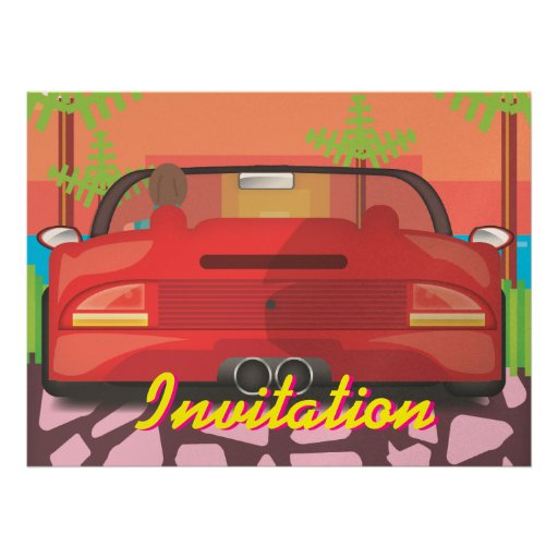 80s Arcade Sports Car Invites
