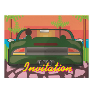 80s Arcade Sports Car Personalized Invites