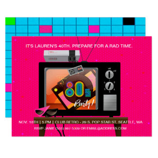 80's Birthday Party Retro Gaming Arcade Invitation