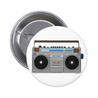 80'S BOOMBOX/GHETTO BLASTER 6 CM ROUND BADGE