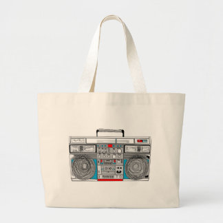 80s boombox illustration large tote bag