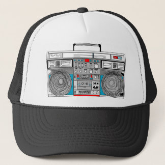 80s boombox illustration trucker hat