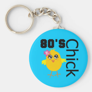 80's Chick Basic Round Button Key Ring