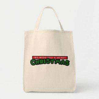 80s Christmas Grocery Tote Bag